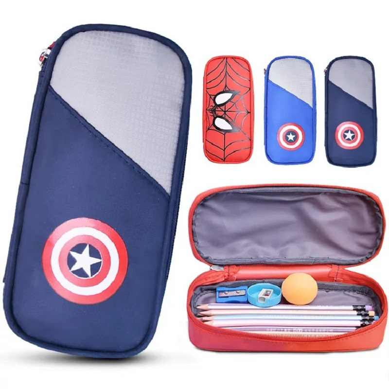New School Box Big Capacity Pencil Case Spiderman Captain America stationery Pen Holder Change Purse Bag
