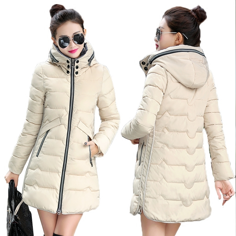 New 2017 Winter Women Hooded Thicken Coat Female Fashion Warm Outwear Cotton-Padded Long Wadded Jacket Coat Parka Plus Size 7xl new winter women jacket medium long thicken plus size outwear hooded wadded coat slim parka cotton padded jacket overcoat cm1039