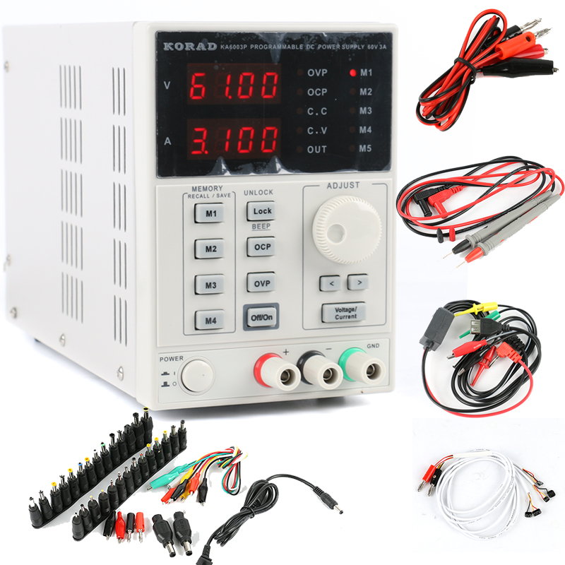 KA6003P Precision Digital Programmable DC Power Supply 60V 3A Adjustable RS232 USB interface+DC Jack Set Phone Repair Kit programmable usb emulator rs232 interface 15keys numeric keyboard password pin pad yd531 with lcd support epos system