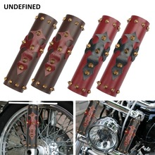 Universal Motorcycle Front Fork Protector Shock Absorber Guard Leather Cover w/ Spikes For Harley Honda Yamaha YZF250 CRF CRF250 motorcycle long 27cm wide 7cm front shock absorber guard wrap cover skin fork protector for pit bike