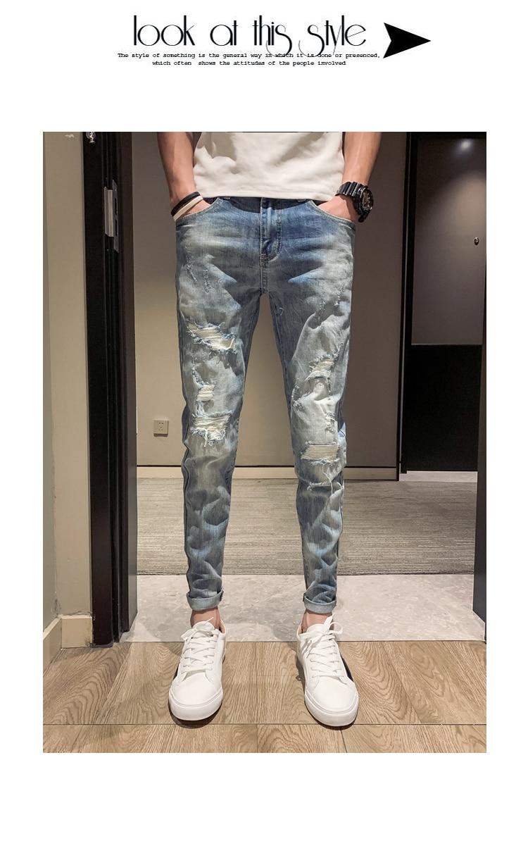 2019 été trou jeans mâle version coréenne de l'auto-culture pieds neuf pantalons ridicule social gars 9 points pantalon
