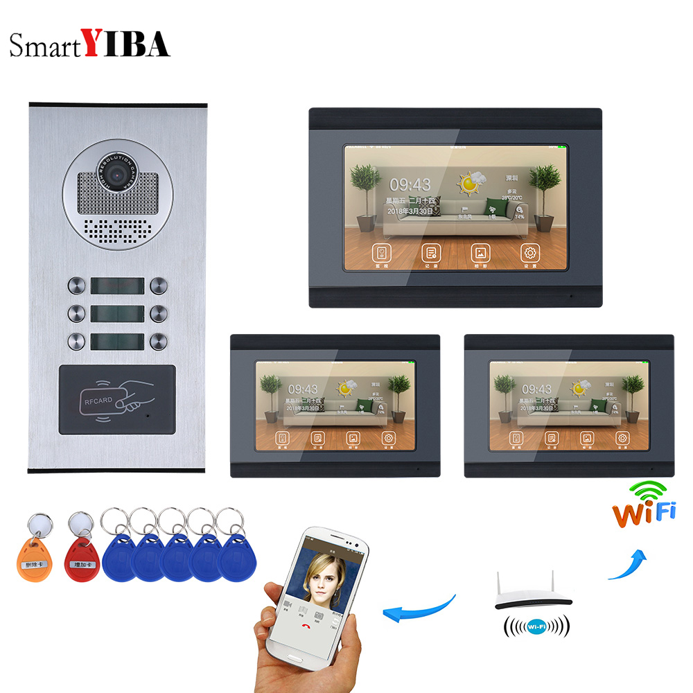 SmartYIBA Video Intercom 7 Inch Wifi Wireless Video Door Phone Doorbell Intercom System Android IOS APP For 3 Units Apartment yobangsecurity 6 units apartment video intercom 7 inch lcd wifi wireless video door phone doorbell video recording app control