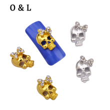10pcs Gold Silver Bows Skull Glitter Rhinestone Jewelry Metal Nail Art Decoration 3d Alloy Nail Charms Studs DIY Nail Tools