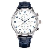 Holunsカジュアルスポーツ男性クォーツ腕時計クロノグラフ日付ブルー番号ダイヤル本革バンド高品質男性腕時計ギフ