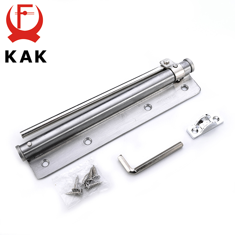 KAK Adjustable Door Closer Stainless Steel Automatic Door Spring Silver Tone Strength For Home Office Door Fire Rated Gate 40KG 20 40kg adjustable high quality surface mounted door closer invisible buffer closed fire door access control