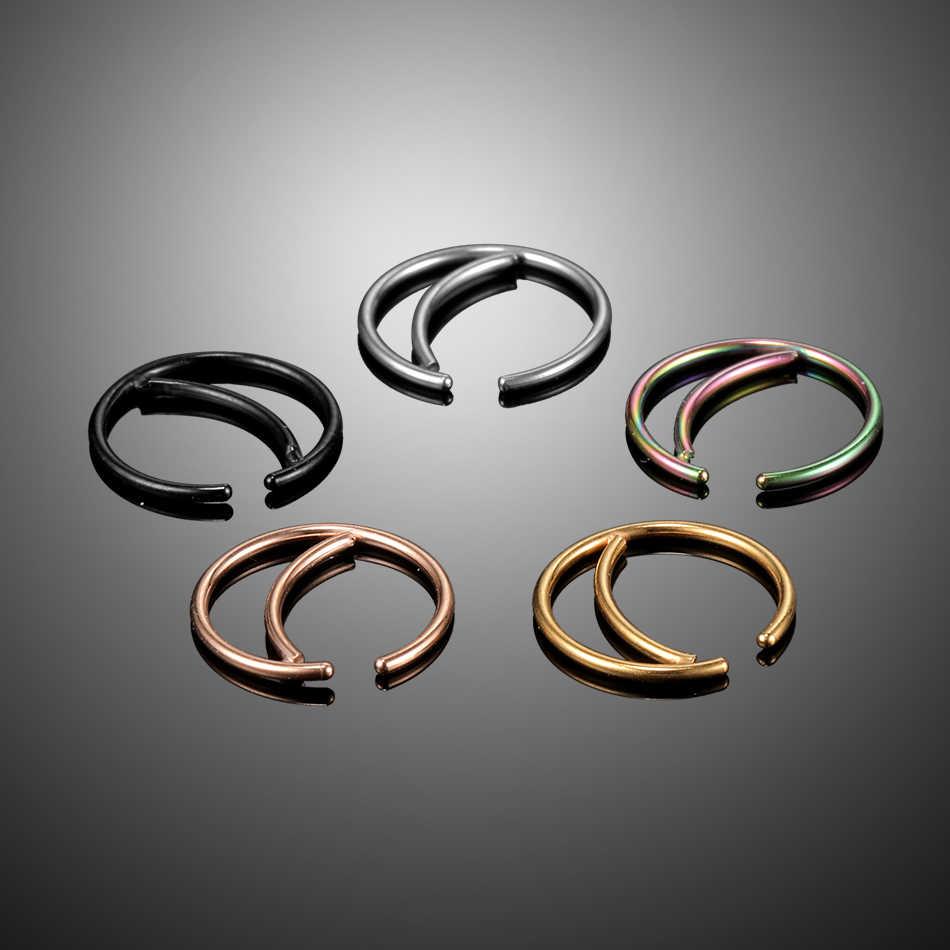 1 יח'\חבילה 20G פלדת האף טבעת חישוק פירסינג Nariz עלה זהב מזויף מחץ טבעת 18G פירסינג Oreille Tragus עגילי מזויף Percings