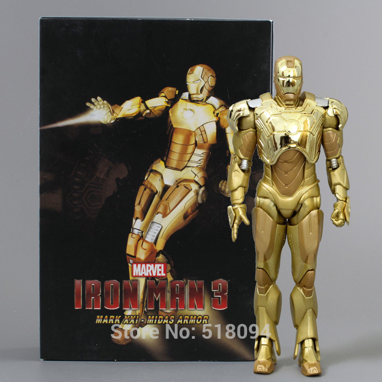 New Arrival Super Hero Iron Man Mark XXI Golden Armor Action Figure NECA Ironman Free Shipping HRFG291