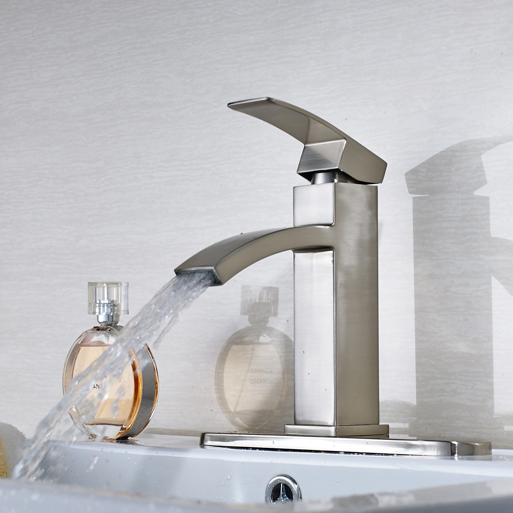 Free Shipping Deck Mounted Bathroom Sink Faucet Single Handle Mixer Tap Crane With 8' Cover Plate free shipping single handle high end bathroom faucet flg100172 deck mounted mixer solid brass crane curved gold sink mixer