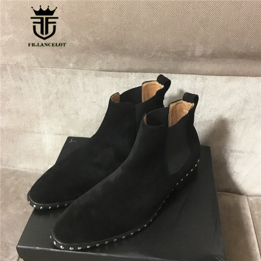 18 Luxury High End Handmade Slip-On Suede Leather Catwalk Rivets Martin Boots Wedge Ankle Chelsea Men Boots high end handmade customized high top luxury demin boots men genuine leather personalized suede folds chelsea boots