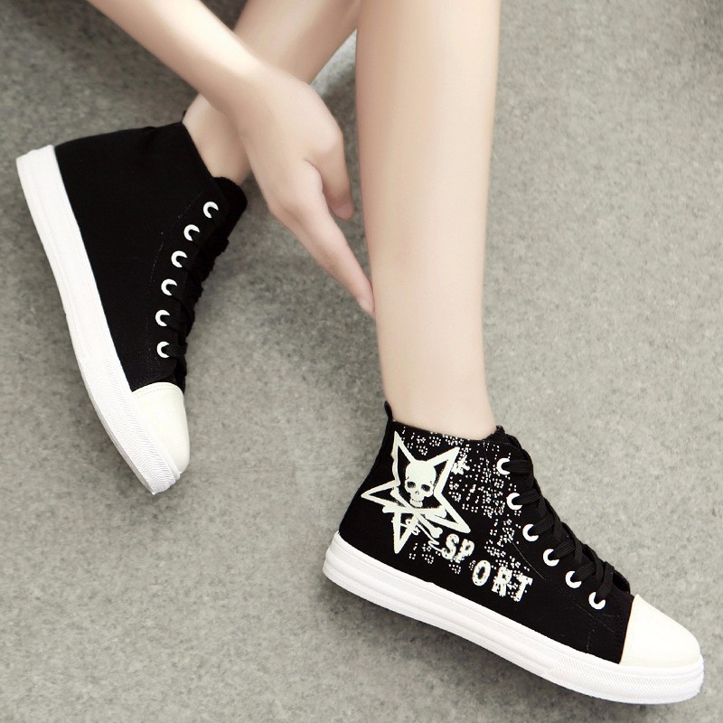 Flat High Top Canvas Women Shoes 17 Colors Spring Autumn Women's Flats Espadrilles Lace Up Casual Shoes Foot 22-24.5CM YD87 (9)