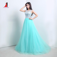 2016 In Stock Cheap Teal Blue Ball Gowns O Neck Top White Lace Elegant Sweet 16