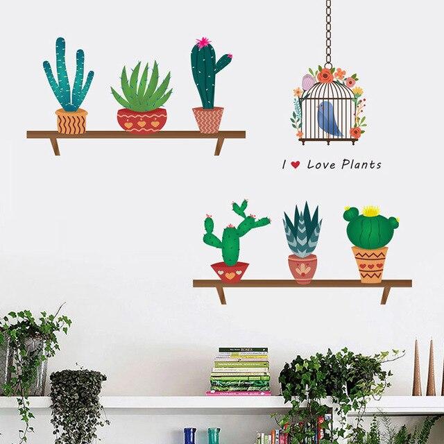 DIY Del Fumetto Piccolo Cactus Pianta Wall Sticker Per Bambini ...