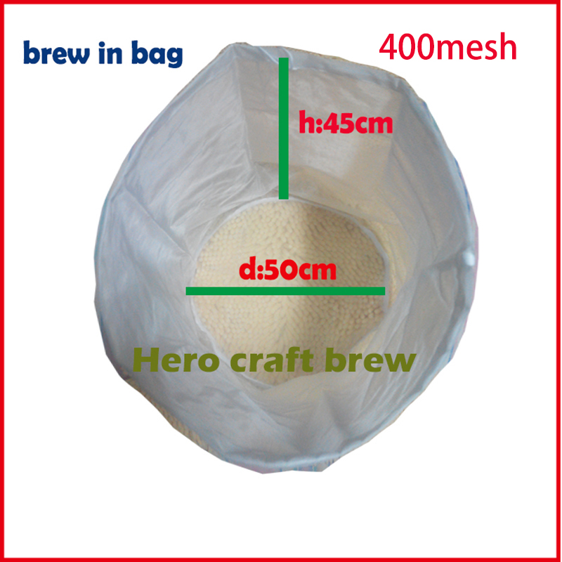 50 * 45 cm 400 Mesh Home Brew Filter Bag 38 Micron Food Grade Mash Beer Homebrew Bucket Bucket Filter Filter Hembrygging filtro de nylon