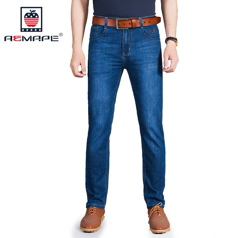 AEMAPE Spring Summer Slim Fit Jeans Men Stretch Thin Denim Pants Light Blue Dark Blue Trousers Man Brand Clothing Size 29-42 men s cowboy jeans fashion blue jeans pant men plus sizes regular slim fit denim jean pants male high quality brand jeans