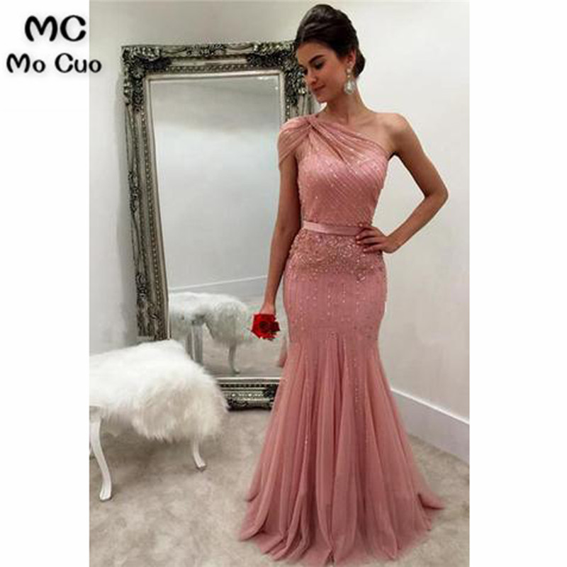 Mermaid 2019 Bluch Pink New Prom Dresses With Beads Lace One Shoulder Lace Up Back Vestidos De Fiesta Evening Party Dress