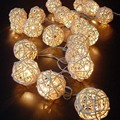 5 M Luces De Navidad Al Aire Libre Guirlande Lumineuse Led Pelota de Ratán Luces de Hadas De Cuerda Blanco Cálido Luces Guirnalda Luces Decorativas