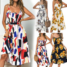 New Arrival Women Spring Summer Casual Dress Sunflower Print Ruffled Button Female Dress sunflower print strap dress