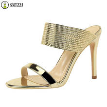 Luxury Gold Silver Bling Thin High Heels Slippers New Elegant Sexy Summer Slide Wedge Shoes For Ladies party casual wear