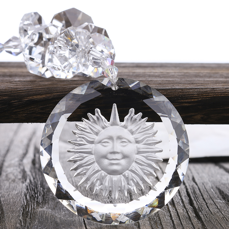H&D Shinning Crystal Glass Sun Charms Pendant Clear Suncatcher Crystal Rainbow Maker For Window,50mm Sun Charms Gift Boxed