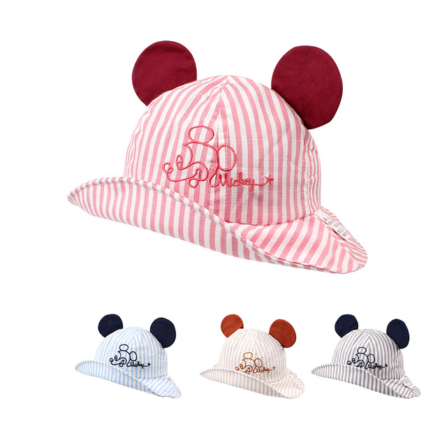 d9d54b7a066 Striped Cartoon Baby Hat Mouse Ear Cute Baby Girl Cap Breathable Wide Brim Baby  Boy Hat