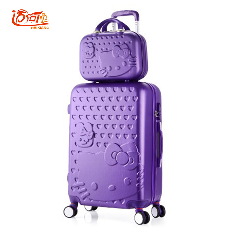 Hello Kitty childrens suitcases luggage set 2022242628 inch with 14 make up case, girls waterproof bag on wheels