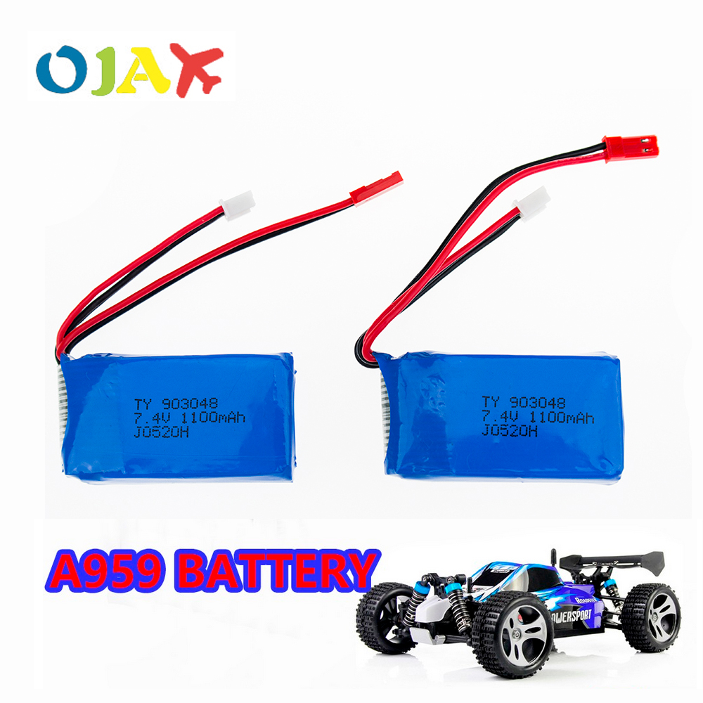 2pcs LiPo RC Drone Battery 7.4V 1100mah Battery For Wltoys A949 A959 A969 A979 K929 RC Helicopter Airplane Car Boat