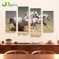4 Sztuka Płótno Running Biały Koń Obraz Olejny Duży Obraz Modern Home Dekoracje Ścienne Na Płótnie Oprawione PR1186