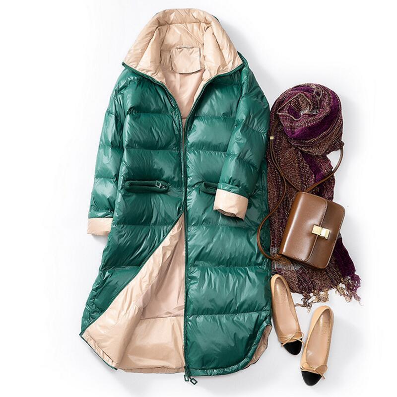 2019 Women Double Sided   Down   Long Jacket Winter Turtleneck White Duck   Down     Coat   Plus size Warm Parkas Snow Outwear