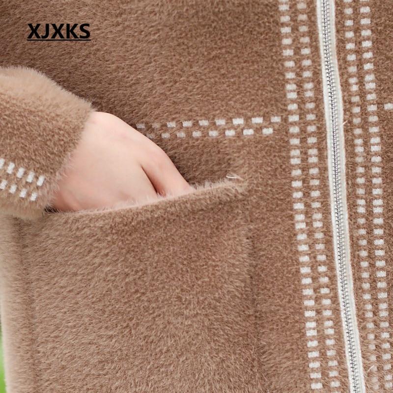 Xjxks Blue kaki Chandails Femmes Pour Green Outwear Vêtements Zipper Casual Mère Poches D'hiver Automne Cardigan Manteaux Manteau Et BpwCxrBfq
