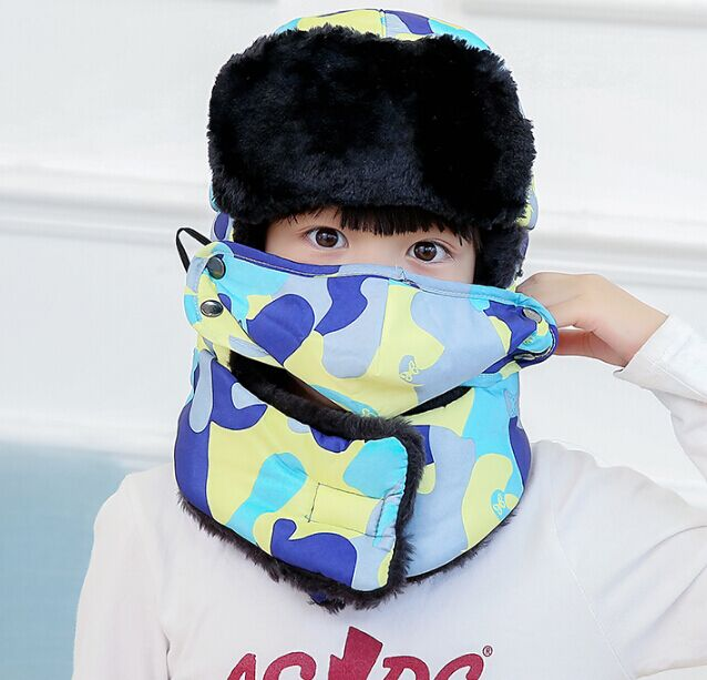 Которая в душе семья мех бомбер шляпа для женщин и мужчин ушные щитки Русская Шапка Детская уличная теплая утолщенная зимняя шапка с шарфом маска - Цвет: kids camo blue