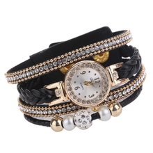 2018 Women New Quartz Watches Luxury PU Leather Pearl Rhinestone Weaving Twist Bracelet Watch H beauties of emperor epozz nature gemstone series new quartz watch women 925 silver bead jewelry watches pearl bracelet h0721s1