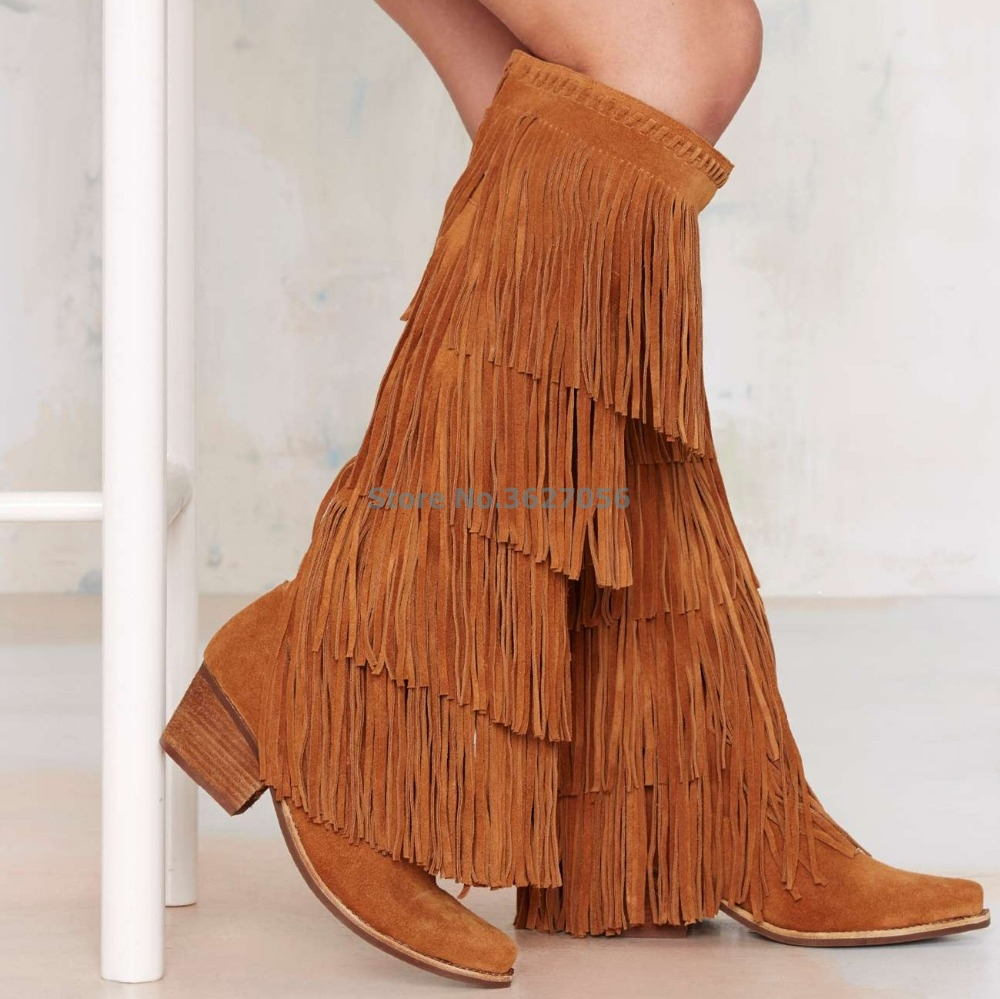 Hot-Sale-Knee-High-Boots-Women-Brown-Pink-Suede-Fringe-Boots-Chunky-Heels-Shoes-Woman-Pointed (1)