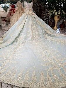 Image 2 - Vestido De Noiva luksusowe wysokiej jakości zroszony vintage kulka suknia ślubna suknie ślubne 2018 suknie ślubne suknia dla panny młodej Brautkleid mięta niebieski