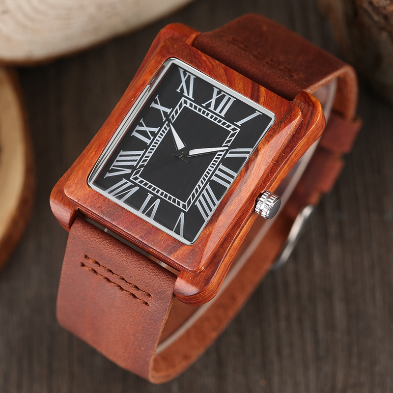Rectangle Dial Wooden Watches for Men Natural Wood Bamboo Analog Display Genuine Leather Band Quartz Clocks Male Christmas Gifts 2020 2019 (62)