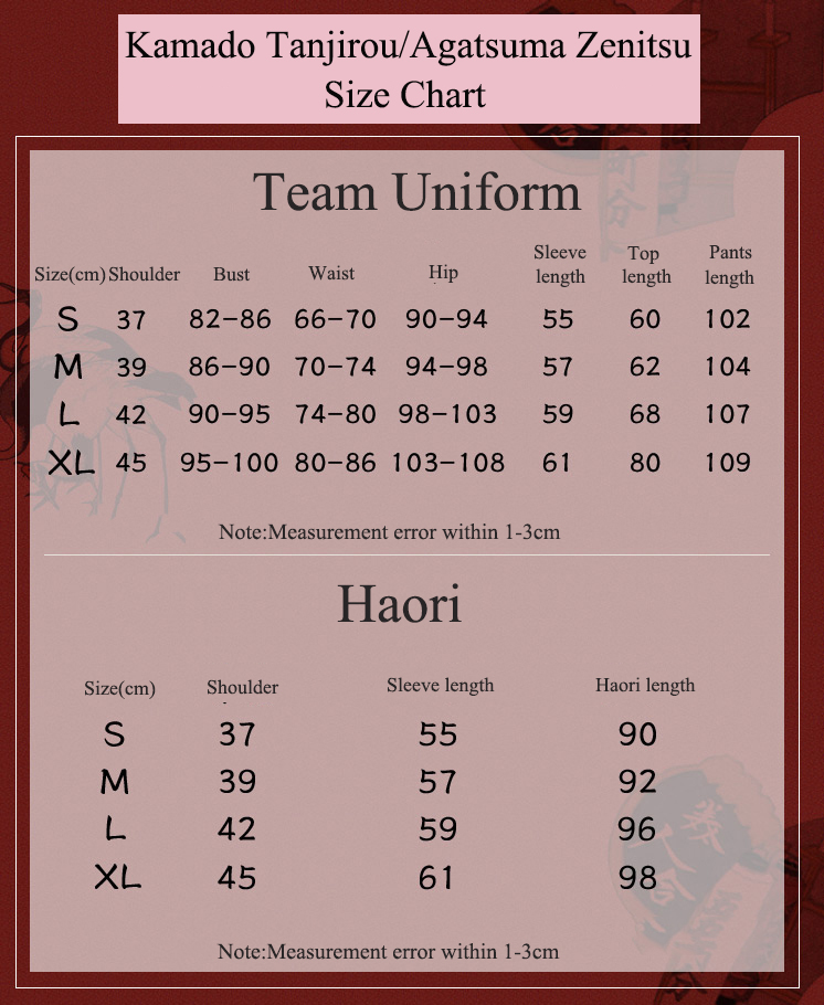 Demon Slayer Costume Size Chart