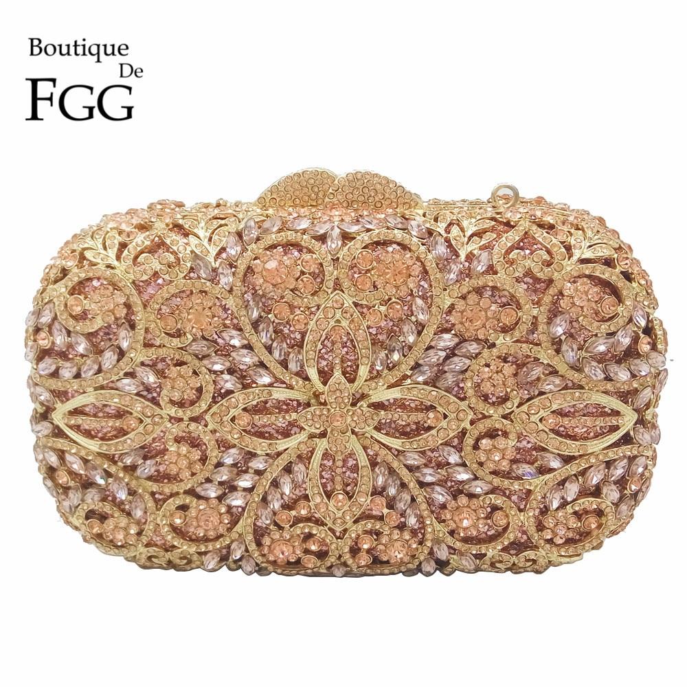 ФОТО Champagne Color Hollow Out Women Crystal Metal Clutches Minaudiere Handbag Diamond Evening Bags Ladies Bridal Wedding Clutch Bag