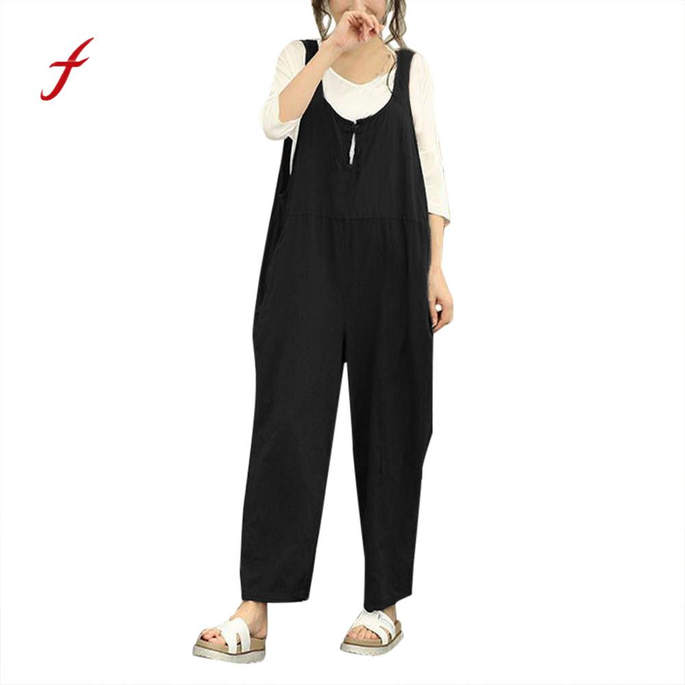 2018 Summer Women Sleeveless Dungarees Loose Cotton Long Jumpsuit Rompers Casual Button Playsuit Jumpsuit Pants Trousers 0120
