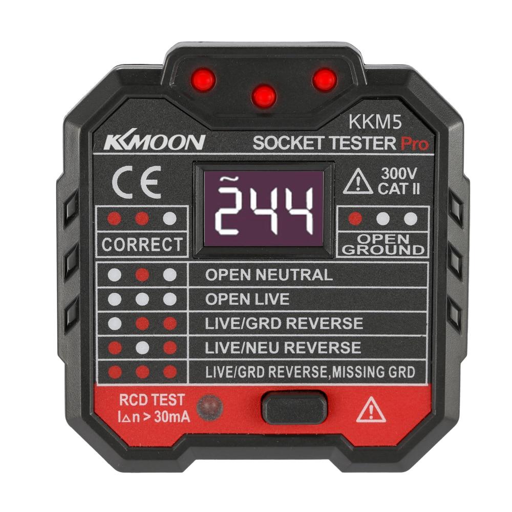 KKM5 Tomada Testador Display Digital Detector De Soquete Circuito Polaridade Testador de Voltagem Portátil Parede Plug Teste RCD Disjuntor Do Finder