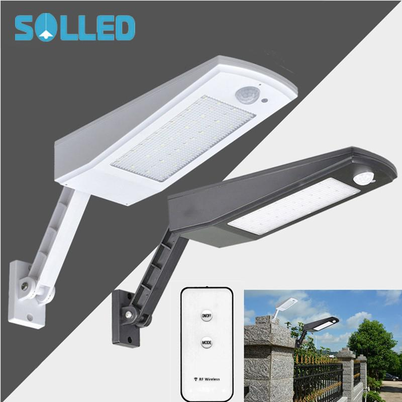 SOLLED LED Solar powered Outdoor Lights with Remote Control Adjustable Human Induction Wall Light