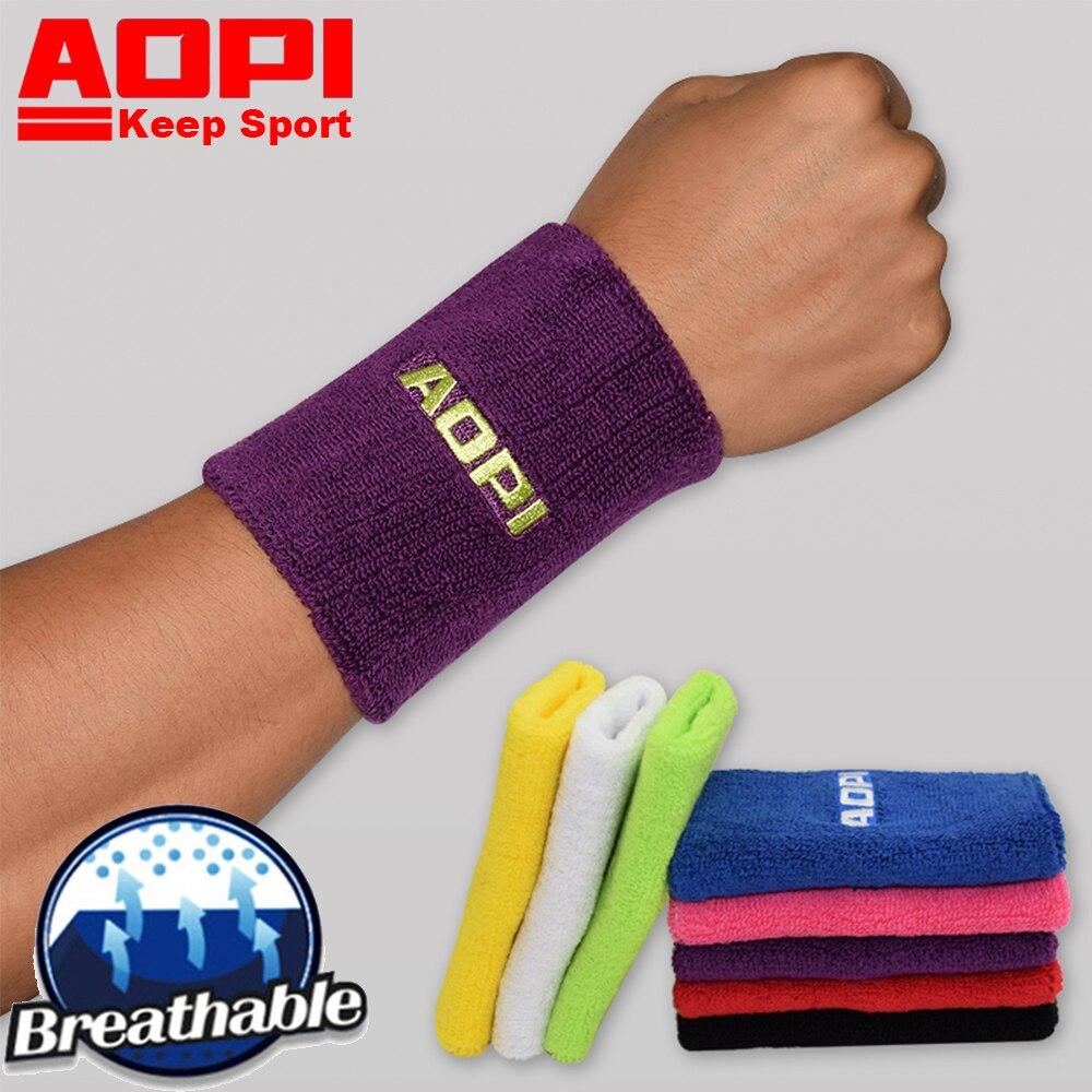 AOPI Brand 12 Color High Elasticity Soft Wrist Support Brace Lengthened Absorb Sweat Cotton Tennis Badminton Running 2PCS=1Pair