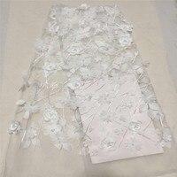 Белый 3D кружевной ткани 2018 Высокое качество сетка вышивка аппликация цветок тюль Нигерии кружевной ткани для Обручение платье CDA66 1