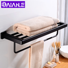 Towel Rack Holder Wall Mounted Black Towel Bar Single Aluminum Towel Rail Hanger Square Bathroom Shelves Shower Storage Rack gfmark towel hanger modern style wall mounted chrome surface towel bars bathroom towel rack shelves holder badkamer accesoires