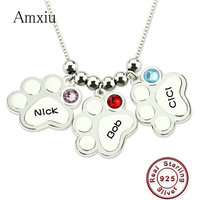 Amxiu Customize 925 Silver Palm Necklace Engrave 1 3 Names Pendant Necklace with Birthstone Personalized Necklace for Mom Baby