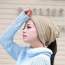 Шляпа Весна Женщины Мужчины Мужская Вязаная Зимняя Шапка Случайные Шапочки Сплошной Цвет Хип-Хоп Оснастки Сутулиться Skullies Bonnet шапочка Hat