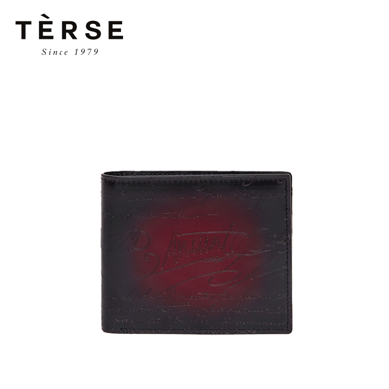 TERSE новый мужской короткий кошелек из натуральной кожи, винтажный мини кошелек с гравировкой, визитницы, 4 вида цветов кошелек, DT0720 1 - 2