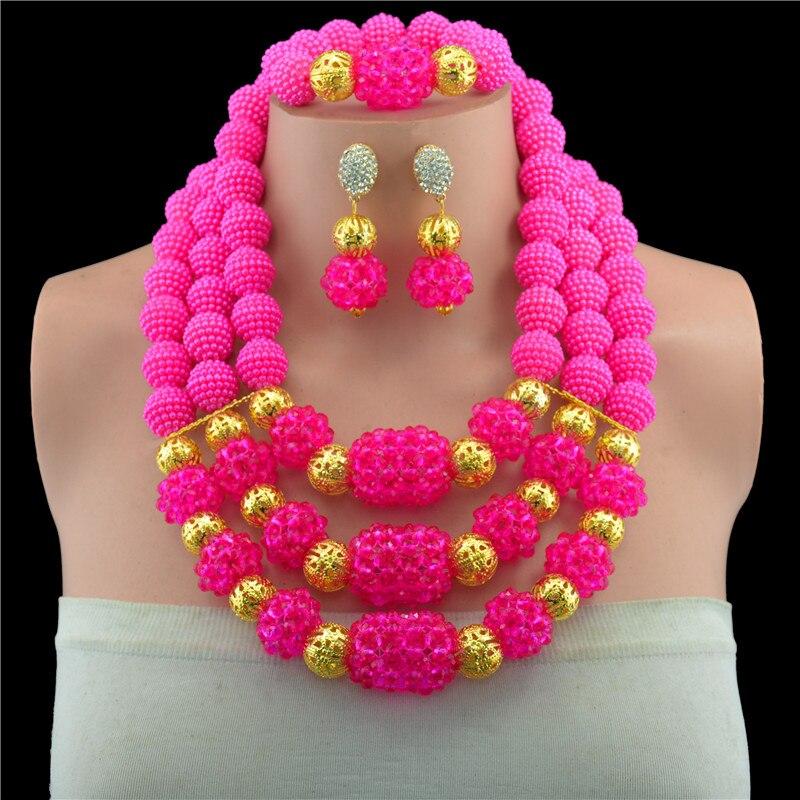 Nigérian mariage perles africaines ensemble de bijoux 100% perles de cristal 6 couleurs multi couche fleur déclaration collier ensembles pour les femmes