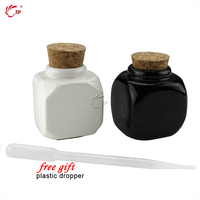 Beauty Porcelain Material Black And White Nail Art Acrylic Glass Dappen Dish Liquid Powder Container 2pcs