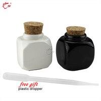 Beauty Porcelain Material Black And White Nail Art Acrylic Glass Dappen Dish Liquid Powder Container 2pcs