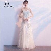 U SWEAR 2019 Sexy O Neck Sleeveless Elegant Slim Lllusion Evening Party Prom Formal Gowns Long Dresses Vestidos Robe De Soiree