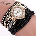 Duoya assistir mulheres marca de luxo de ouro da moda pulseira de strass cristal mulheres vestido relógios ladies quartz relógios de pulso